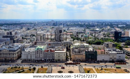 Warsaw, Poland - July 28 2019: Aerial cityscape of Warsaw from the viewpoint / viewing tarrace located on the 30th floorof Palace of Culture and Science. Jerusalem Avenue (Polish: Aleje Jerozolimskie) #1471672373