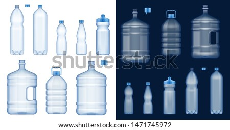 Plastic water bottles 3d vector mockups. Empty drink containers of clear mineral, carbonated and soft beverages, gallon cooler jugs, sport packs and liter packages with blue lids and handles #1471745972