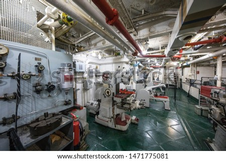 LONDON/ENGLAND - 01 February, 2018 :  HMS Belfast is a Town-class light cruiser that was built for the Royal Navy. She is now permanently moored as a museum ship on the River Thames in London   #1471775081