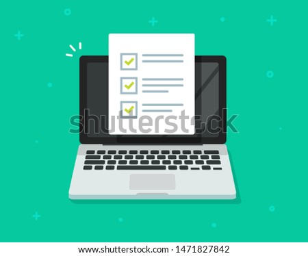 Checklist document on laptop vector illustration. flat cartoon computer with  paper checklist and to do list with checkboxes, concept of survey. online quiz, completed things or done test, feedback.