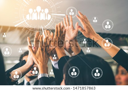 Human Resources Recruitment and People Networking Concept. Modern graphic interface showing professional employee hiring and headhunter seeking interview candidate for future manpower. Royalty-Free Stock Photo #1471857863