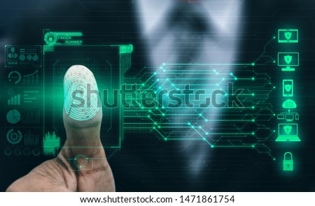 Fingerprint Biometric Digital Scan Technology. Graphic interface showing man finger with print scanning identification. Concept of digital security and private data access by use fingerprint scanner. #1471861754