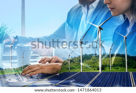 Double exposure graphic of business people working over wind turbine farm and green renewable energy worker interface. Concept of sustainability development by alternative energy. #1471864013