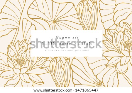 Vintage card with lotus flowers. Floral wreath. Flower frame for flowershop with label designs. Floral water lily greeting card. Flowers background for cosmetics packaging #1471865447