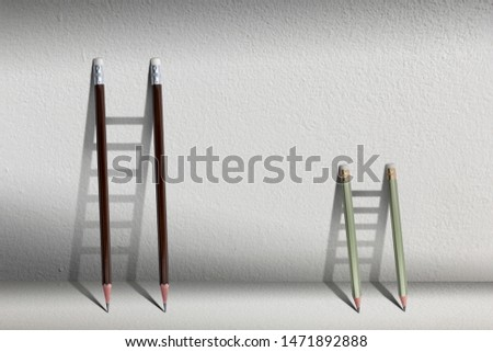 Stairs with pencil for effort and challenge in business to be achievement and successful concept.find opportunity and career part. #1471892888