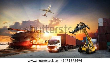 Container truck in ship port for business Logistics and transportation of Container Cargo ship and Cargo plane with working crane bridge in shipyard , logistic import export and transport industry  #1471893494