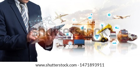 The double exposure image of the businessman using a smartphone during sunrise overlay with Logistics and transportation of Container Cargo ship and Cargo plane  #1471893911
