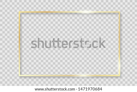 Gold shiny glowing frame with shadows isolated on transparent background. Vector golden realistic rectangle border. #1471970684