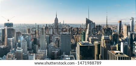 Aerial view of the large and spectacular buildings in New York City - Panoramic Landscape Royalty-Free Stock Photo #1471988789