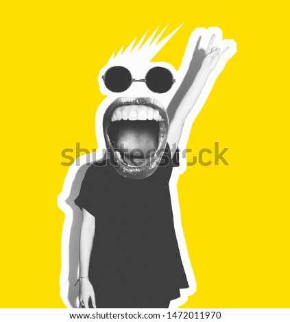 Stylish trendy collage of modern art. Screaming crazy mouth instead of head, giving a sign of rock and roll, a gesture of devil horns. Black and white tones on a yellow isolated background. #1472011970