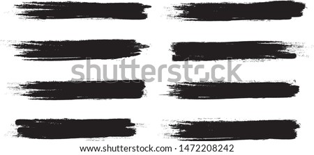 Brush stroke set isolated on white background.Collection of brush stroke for black ink paint, grunge backdrop, dirt banner,watercolor design and dirty texture.Creative art concept, vector illustration #1472208242