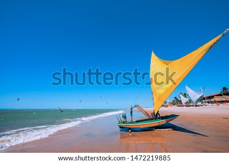 Raft or Jangada is typical fishing boat from the Brazil's Northeast - Cumbuco Beach - Ceara State - Brazil #1472219885