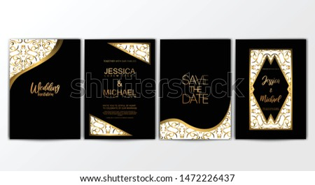 Wedding Invitation Cards. Invitation Cards with Luxurious Concept, Ornament, Luxury Poster, Vector Decorative and Pattern Vector Design Template #1472226437