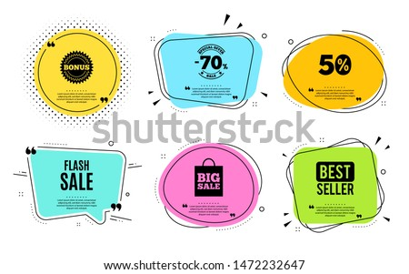 Flash Sale. Best seller, quote text. Special offer price sign. Advertising Discounts symbol. Quotation bubble. Banner badge, texting quote boxes. Flash sale text. Coupon offer. Vector #1472232647