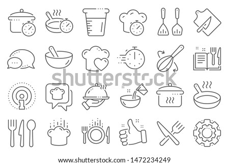 Cooking line icons. Boiling time, Frying pan and Kitchen utensils. Fork, spoon and knife line icons. Recipe book, chef hat and cutting board. Cooking book, frying time, hot pan. Line signs set. Vector #1472234249