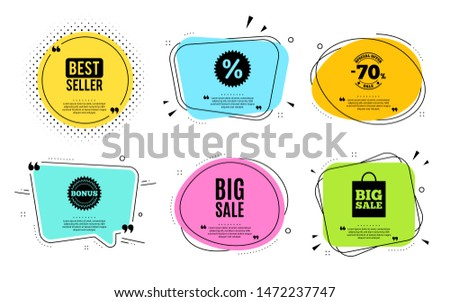 Big Sale. Best seller, quote text. Special offer price sign. Advertising Discounts symbol. Quotation bubble. Banner badge, texting quote boxes. Big sale text. Coupon offer. Vector #1472237747