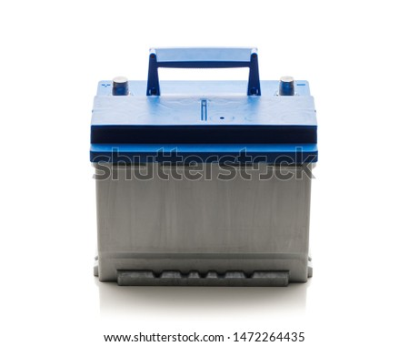 new lead-acid automotive electric battery, isolated on white #1472264435