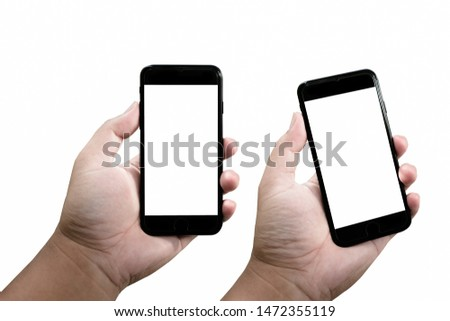 Mock-up image of smartphone with empty screen background, Male hand holding blank smartphone isolated on white background. #1472355119