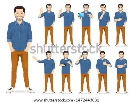 Man in casual outfit set with different gestures isolated Royalty-Free Stock Photo #1472443031