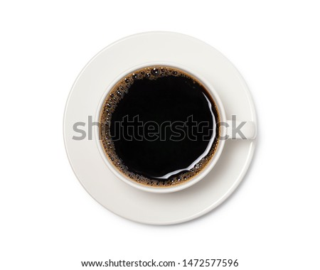 coffee cup top view  isolated on white background. with clipping path. #1472577596