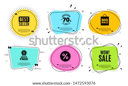 Wow Sale. Best seller, quote text. Special offer price sign. Advertising Discounts symbol. Quotation bubble. Banner badge, texting quote boxes. Wow sale text. Coupon offer. Vector #1472593076