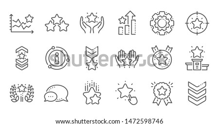 Ranking line icons. First place, star rating and winner medal. Shoulder strap, army achievement and star ranking icons. Linear set. Quality line set. Vector #1472598746