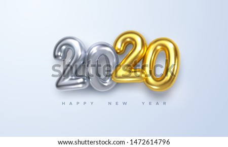 Happy New 2020 Year. Holiday vector illustration of silver and golden metallic numbers 2020. Realistic 3d sign. Festive poster or banner design #1472614796