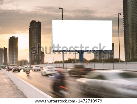 Billboard mockup outdoors, Outdoor advertising poster on the street for advertisement street city. With clipping path on screen #1472710979