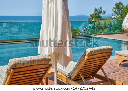 luxury hotel pool and summer vacation #1472752442
