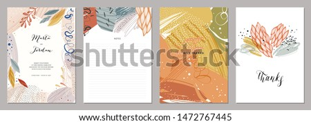 Set of abstract creative universal artistic templates. Good for poster, card, invitation, flyer, cover, banner, placard, brochure and other graphic design. Vector illustration. #1472767445