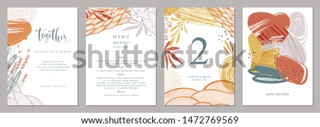 Invitation, menu, table number card design. Floral wedding templates. Good for birthday, bridal and baby shower. Vector illustration. #1472769569
