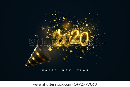 Golden 2020 numbers, party popper cone and glittering confetti isolated on black. Vector festive illustration. Holiday decoration with sparkling tinsel particles. Happy New Year #1472777063