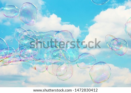 bubble floating background soapy copy bubble bubbles floating soap drift in blue sky with clouds stock, photo, photograph, picture, image