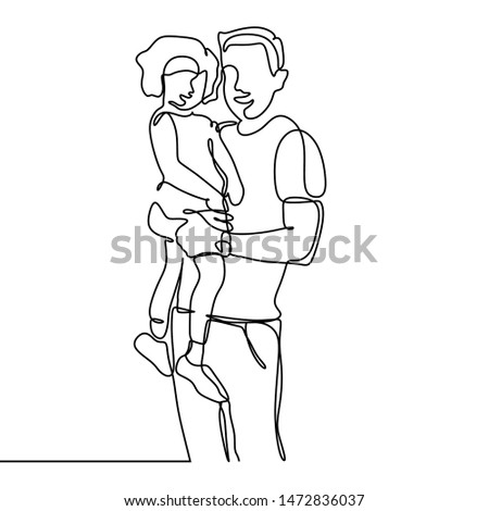 Continuous line drawing of father and his daughter vector illustration trendy character minimalist design #1472836037
