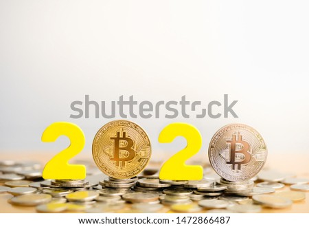 Bitcoin  2020. Bitcoins are next to the numbers 2. Prediction of Price bitcoin in year 2020. Future Bitcoin Value for 2020, 2022, 2030. #1472866487