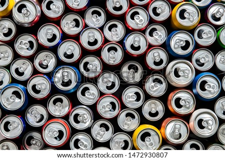 Recycling aluminum or metal empty cans top view. Group of cans for reuse and recycle. - Image Royalty-Free Stock Photo #1472930807