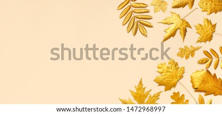 Flat lay creative autumn composition. Golden leaves on beige background top view copy space. Fall concept. Autumn background. Minimal concept idea, floral design