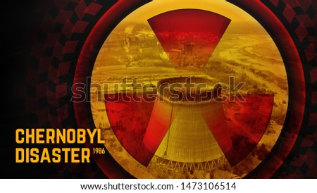 Chernobyl disaster, april 1986. Wallpaper concept. Symbol of radiation on the background of the cooling tower in Chernobyl. Conceptual illustration of the Chernobyl disaster. Close up radiation sign. #1473106514
