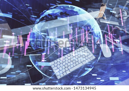 Multi exposure of graph and financial info and work space with computer background. Concept of international online trading. #1473134945
