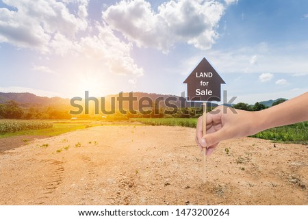 Empty dry cracked swamp reclamation soil, land plot for housing construction project with car tire print in rural area and beautiful blue sky with fresh air Land for sales landscape concept Royalty-Free Stock Photo #1473200264