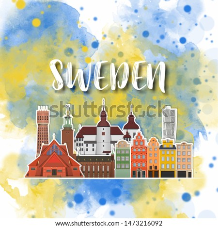 Sweden Landmark Global Travel And Journey watercolor background. Vector Design Template.used for your advertisement, book, banner, template, travel business or presentation. #1473216092