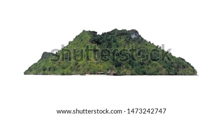 Photo for developers.Picture of the background cut-out only do not adjust the light and colour process.The tree mountain on the island isolated on white background.The mountain has many covered tree. #1473242747