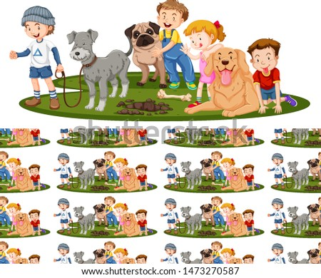 Seamless background design with kids and dogs illustration #1473270587