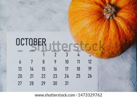 Simple 2019 October monthly calendar on table with a pumpkin #1473329762