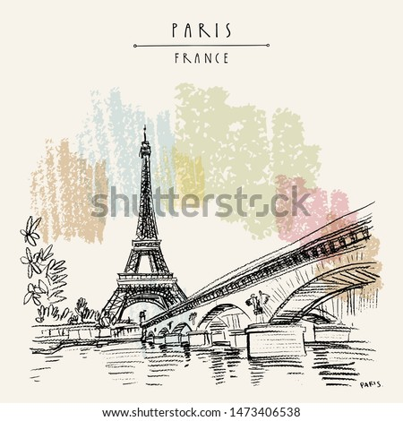 Eiffel Tower in Paris, France. Bridge and water. Hand drawing in retro style. Travel sketch. Vintage hand drawn touristic postcard, poster or artistic book illustration