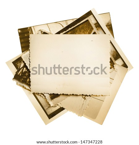Vintage photo stack isolated on white