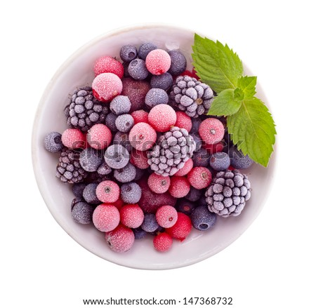 Frozen berry isolated top view Royalty-Free Stock Photo #147368732