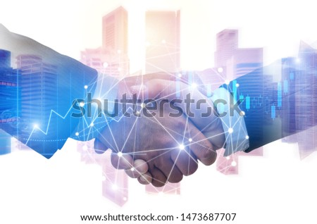 double exposure image of investor business man handshake with partner with digital network link connection and graph chart of stock market and cityscape background, investment and partnership concept #1473687707