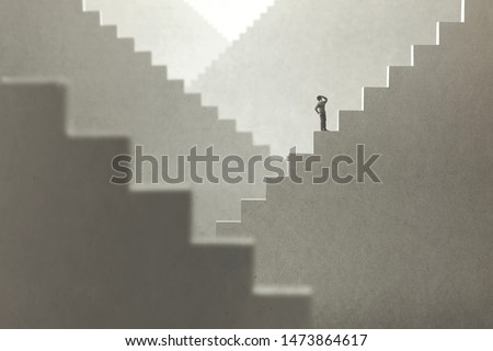 surreal concept of a man rising stairs to try to reach the top #1473864617