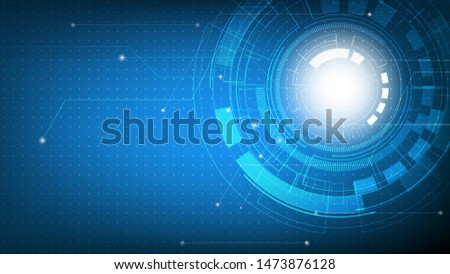 Technology abstract futuristic on blue gradient with circuit board,  Hi-tech digital technology and engineering, digital telecom concept, Vector illustration #1473876128